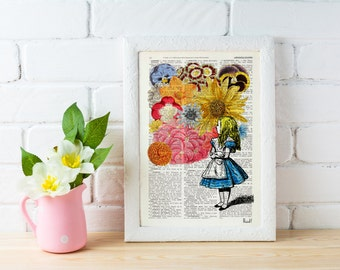 Summer Sale Alice in wonderland with Flowers - alice in wonderland,Alice in Wonderland Collage Print on Vintage Dictionary ALW025b