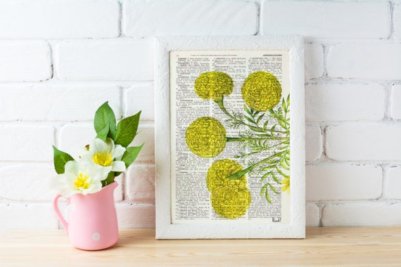 Spring Sale Wall hanging Tagetes or African marigold flower Botanical studio print on Dictionary giclee  wall decor yellow BPBB074