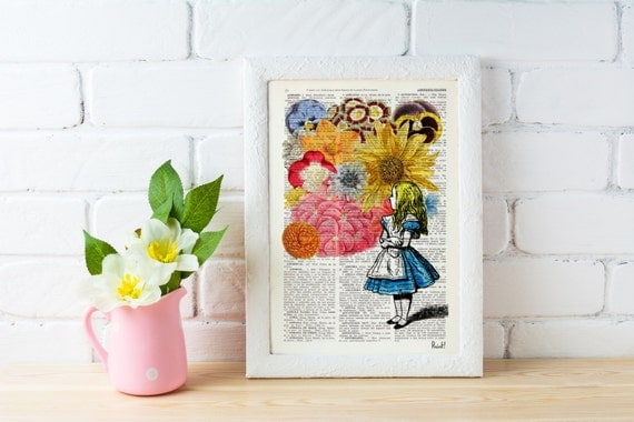 Christmas Sale Alice in wonderland with Flowers - alice in wonderland,Alice in Wonderland Collage Print on Vintage Dictionary ALW025b