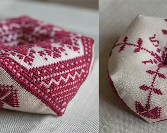 PDF Hanseatic Pin Pillow Pincushion Biscornu cross stitch patterns by Modern Folk at thecottageneedle.com monochromatic Valentine's Day