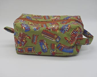 Train Travel Bag, Ditty Bag, Dopp Kit, Toiletry Bag, Railroad Bag, Wet Sack, Cosmetics Pouch, Gifts for Men, Gifts for Boys