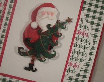 Santa Card, Christmas Card, Handmade Christmas Card, Christmas Tree, Santa Claus