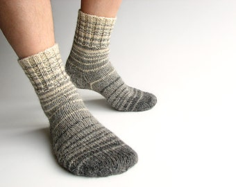 EU Size 39-40 - Hand Knitted Striped Socks - 100% Natural Wool - Winter Autumn Warm Clothing