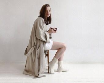 Long linen robe, Grey bath robe, Unisex bath robe, Linen dressing gown, Spa robe, Flax grey linen bath robe for men and women by LHI