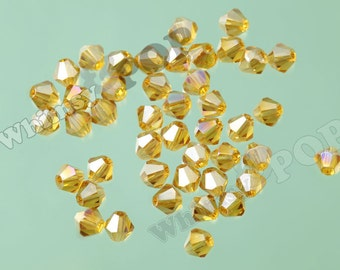50 - Yellow Gold AB Brilliant Glass Bicone Spacer Beads, Bicone Beads, 4mm Spacer Beads, 4mm Glass Beads (5-4D)