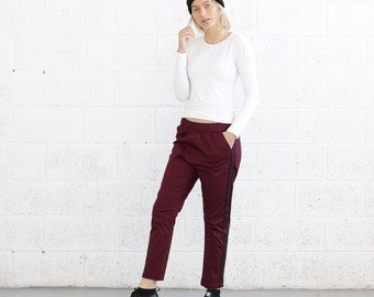 Cropped twill stretch track pants , Burgundy .