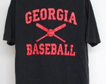 Vintage Georgia Baseball T Shirt Mens Extra Large XL Unisex Womens 90s University Of Georgia Bulldogs MLB ATL Black