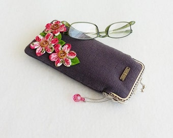 Beautiful Dark Gray Glasses Case, Eyeglass Case, Spectacle Case, Metal Frame Purse