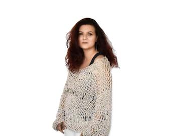 Grunge loose knit sweater knit lace summer top oversize cotton summer sweater women lace blouse open weave grunge boho sweater slouchy knit