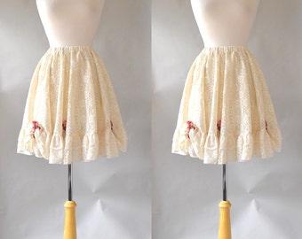 70s Boho Lace Full Circle Skirt