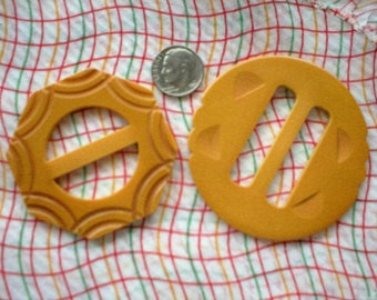 """Two Vintage Butterscotch Bakelite Buckles ~ Size Large ~  2"""" and 2- 1/2"""" ~ Carved Bakelite Buckles"""