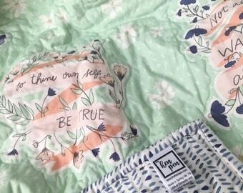 Floral Baby Blanket / Mint Baby Bedding / floral baby bedding, baby quilt, mini crib bedding, crib blanket, crib bedding, floral quilt