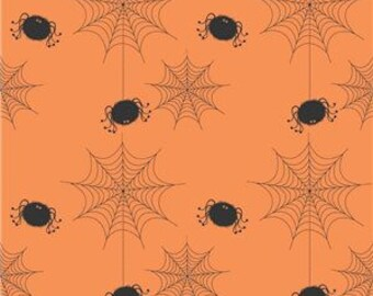 Riley Blake Halloween Quilt Fabric, Orange with Black Spiders, C565