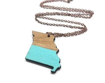 Two Tone Wood and Aqua Missouri Wood State Necklace - Customizable Wooden Necklace - MO State Jewelry with Copper Tone Chain