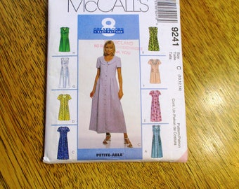 EASY Fit and Flare Summer Sun Dress w/ Pin Tuck Details - (8 GREAT Looks!) - Size (10 - 12 - 14) - UNCUT Sewing Pattern McCalls 9241
