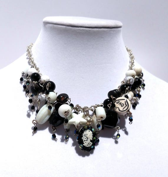 Black and White Cameo Cascade Necklace