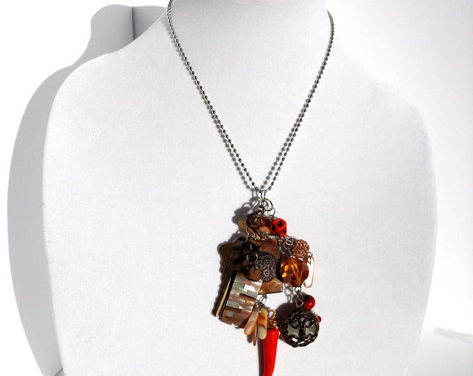 Assemblage Necklace in Orange and Bronze with Shell, Key, Claw, and Vintage Buttons