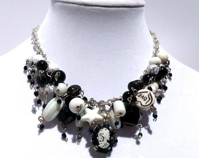 Black and White Cameo Cascade Necklace