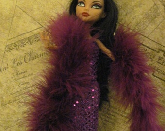 Gown Dress For Monster High Doll Purple Sequin Dress and boa