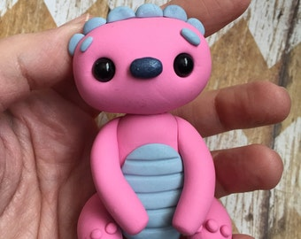 Little Pink Monster- Polymer Clay Sculpture - Cake Topper Keepsake - Art by Sarah Price