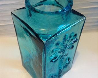 Art Glass Vase by Frank Thrower. Blue Dartington Glass.   WOW fabulous.   Mid century, Danish Modern, Eames era.  Vintage 1960 England.