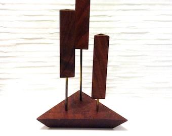 Rosewood or Walnut 3 Candle holder. 1960's Vintage Modernist. Mod, Mid century, Danish Modern, Eames era.