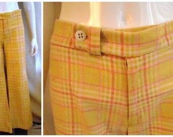 """Vintage 1970s Pants Pastel Plaid Bellbottoms Hiphuggers Mod 5"""" Zipper"""