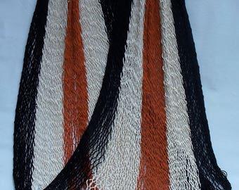 Single Size Classic Costa Rican Hammock - Navy, White & Orange