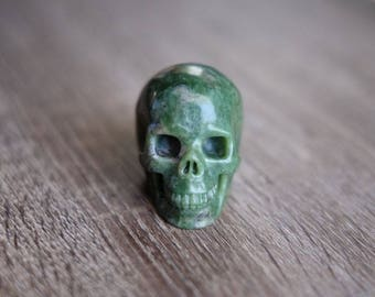 Green Verdite Stone Carved Crystal Skull