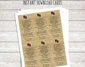 Footprints in the Sand Printable Poem - Baby Baptism Favor - Printable Cards - Instant Download