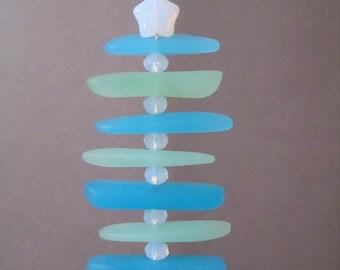 Coastal Christmas Ornament ~ Sea Glass Ornament ~ Christmas in July Sale ~ Beach Christmas Decor ~ Nautical Ornament ~ Beach Glass Ornament