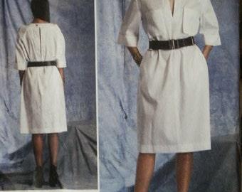 UNCUT Vogue Paris Original Guy Laroche Belted Dress V1400 1400 Sewing Pattern Size 8 10 12 14 16 Bust 31 1/2 - 38