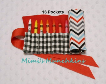 Kids' Crayon Roll Up, Turquoise-Red-Black Chevron, Crayon Holder, Travel Roll Up, Entertainment for Kids, READY TO SHIP