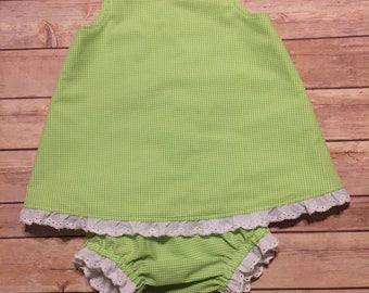 Designer Kids Clothes, Lime Green Gingham Sundress, Size 18m Baby Summer Dress Beach Dress Birthday Little Girl's Dress Ready to Ship