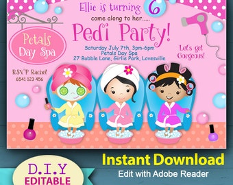 EDITABLE - Spa Party Invitation, girls pamper party, INSTANT DOWNLOAD, Cute Day Spa Invitation, Party Print At Home, Manicure, Pedicure