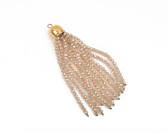 "Crystal Bead Tassel Charm Pendant, GOLDEN SHADOW Crystals with GOLD cap, about 3"" long, chg0596"