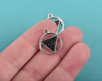 3 Silver Plated TRIANGLE in CIRCLE Geometric Charms, black rhinestones, 18mm dia, chs2982
