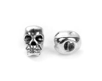 30 Silver Metal SKULL Beads, Large Hole, drilled top to bottom, great for leather cord, 12mm, bme0412b