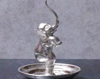 Vintage  1940's English EPZ Electro Plated Zinc Silver Elephant Ring Holder
