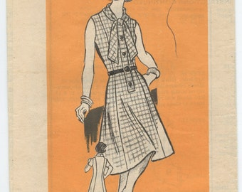 1970's Mail Order 9170 Vintage Sewing Pattern Misses Button Front Dress With Tie Collar Bust 40 UNCUT