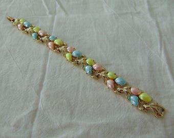 vintage BSK signed pastel colored cabochons bracelet gold plated