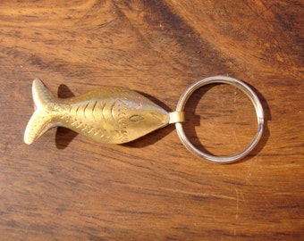 Moroccan  hand made very small  brass tarnished fish hollow  pendant