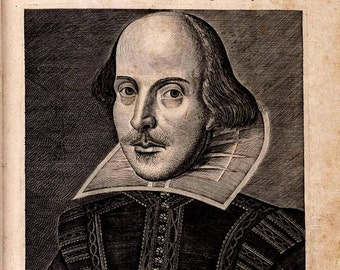 William Shakespeare Folio Print Poster Bust Portrait Drawing