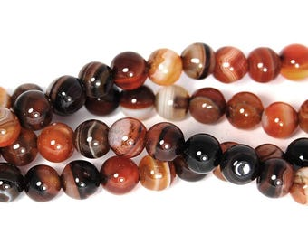 Amber Brown Striped Agate  6mm Round  -15 inch strand