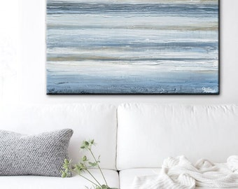 ORIGINAL Art Blue Abstract Painting Textured Rustic Acrylic Painting Seascape Large Wall Art Home Decor Coastal Beach Decor 36x36- Christine