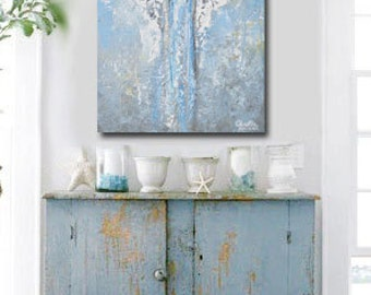 GICLEE PRINT Art Abstract Angel Oil Painting Acrylic Painting Home Decor Wall Decor Home Gift Canvas Angel Wings White Blue - Christine