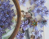 10 Vintage Brass Lavender Blue Flowers