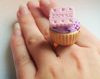 Kawaii Cupcake Ring - Lilac Frosting, Pastel Pink, Polymer Clay, Cookies, Dessert, Food Miniature, Fairy Kei