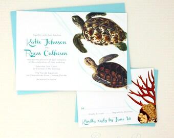 Sea Turtle Wedding Invitations, Sea Turtle Wedding Invites, Beach Wedding Invitations, Aquarium Wedding Invitations, Sea Turtle Invitations
