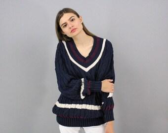 Vintage Oversized V-Neck Sweater / Varsity Sweater / 80s Sweater / Slouchy Sweater / Boyfriend Sweater / Preppy Sweater Δ fits siz